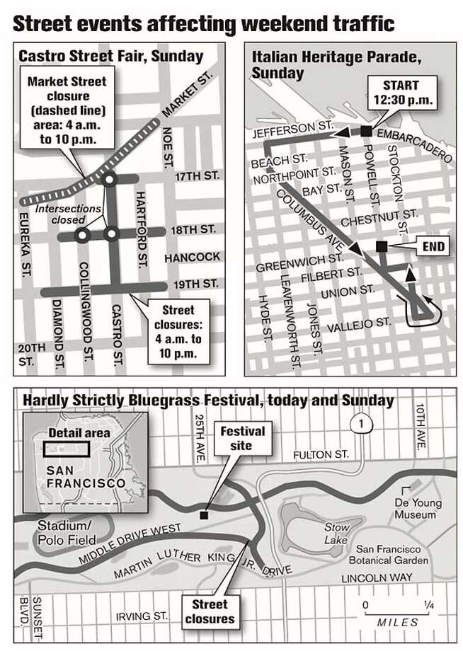 Street events affecting weekend travel. Chronicle Graphic