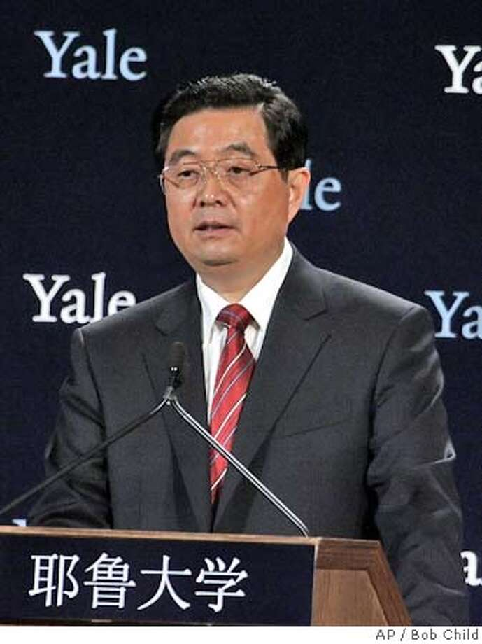 Hu Jintao, President of the People's Republic of China, delivers an address at Yale University in New Haven, Conn., Friday, April 21, 2006. President Hu said that he hoped that the young people of the United States and China will work to enhance friendship between the two countries. (AP Photo/Bob Child) Photo: BOB CHILD