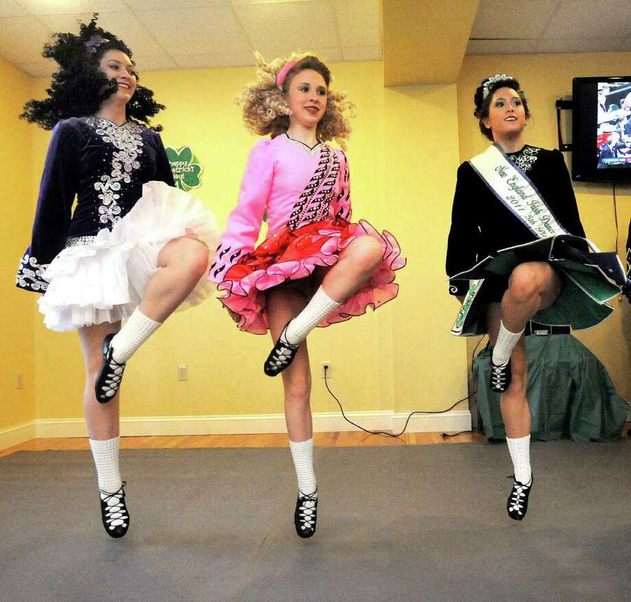 Dancers from the Gilleoghan Irish Dance perform a slip jig at the Greater Danbury Irish Cultural Center Saturday, March 17, 2012. From left are Sophie Jones, 14, Cassie Seavy, 15, and Bridget Tee King, 18. Photo: Michael Duffy
