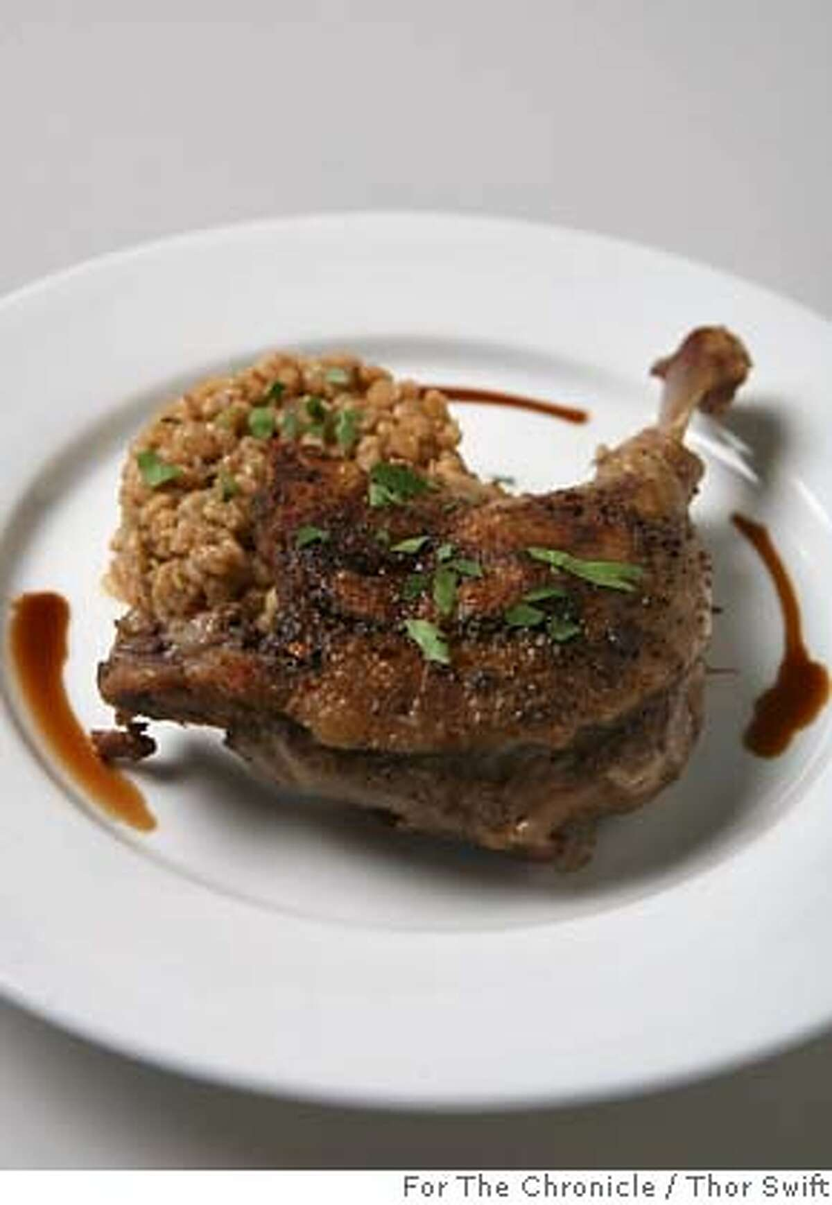 Paring recipe to go with South Central Coast Syrah, spiced duck leg confit with winter root begtables and farro risotto from Villa Creek Robles chef Tom Fundaro, photographed at the San Francisco Chronicle studio, Thursday, Sept., 27, 2007. Thor Swift For The San Francisco Chronicle