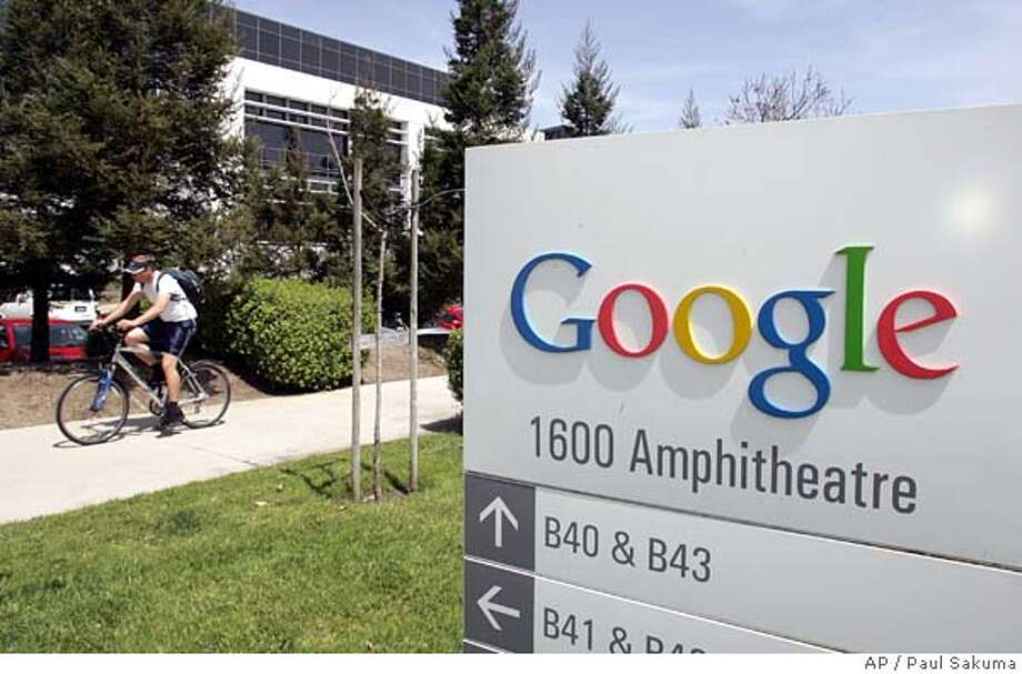 Google headquarters in Mountain View, Calif., is seen Thursday, April 20, 2006. Google Inc.'s first-quarter profit rose 60 percent, they announced Thursday, soaring past analyst estimates as the company's Internet-leading search engine solidified its position as the Web's most popular advertising vehicle. (AP Photo/Paul Sakuma) Photo: PAUL SAKUMA