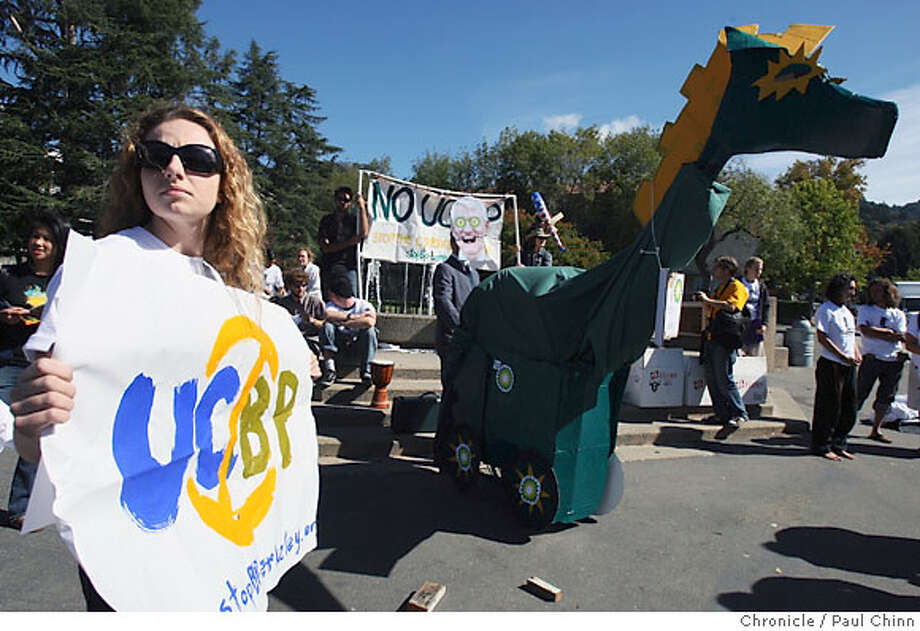 Cal sophpmore Pamela Krayenbuhl joined protesters on the UC Berkeley campus to denounce the university's $500 million deal with oil giant BP in Berkeley, Calif. on Thursday, Oct. 4, 2007. The protest was timed to coincide with a two-day biofuel conference at the Bancroft Hotel across the street from the campus.  PAUL CHINN/The Chronicle  **Pamela Krayenbuhl Photo: PAUL CHINN