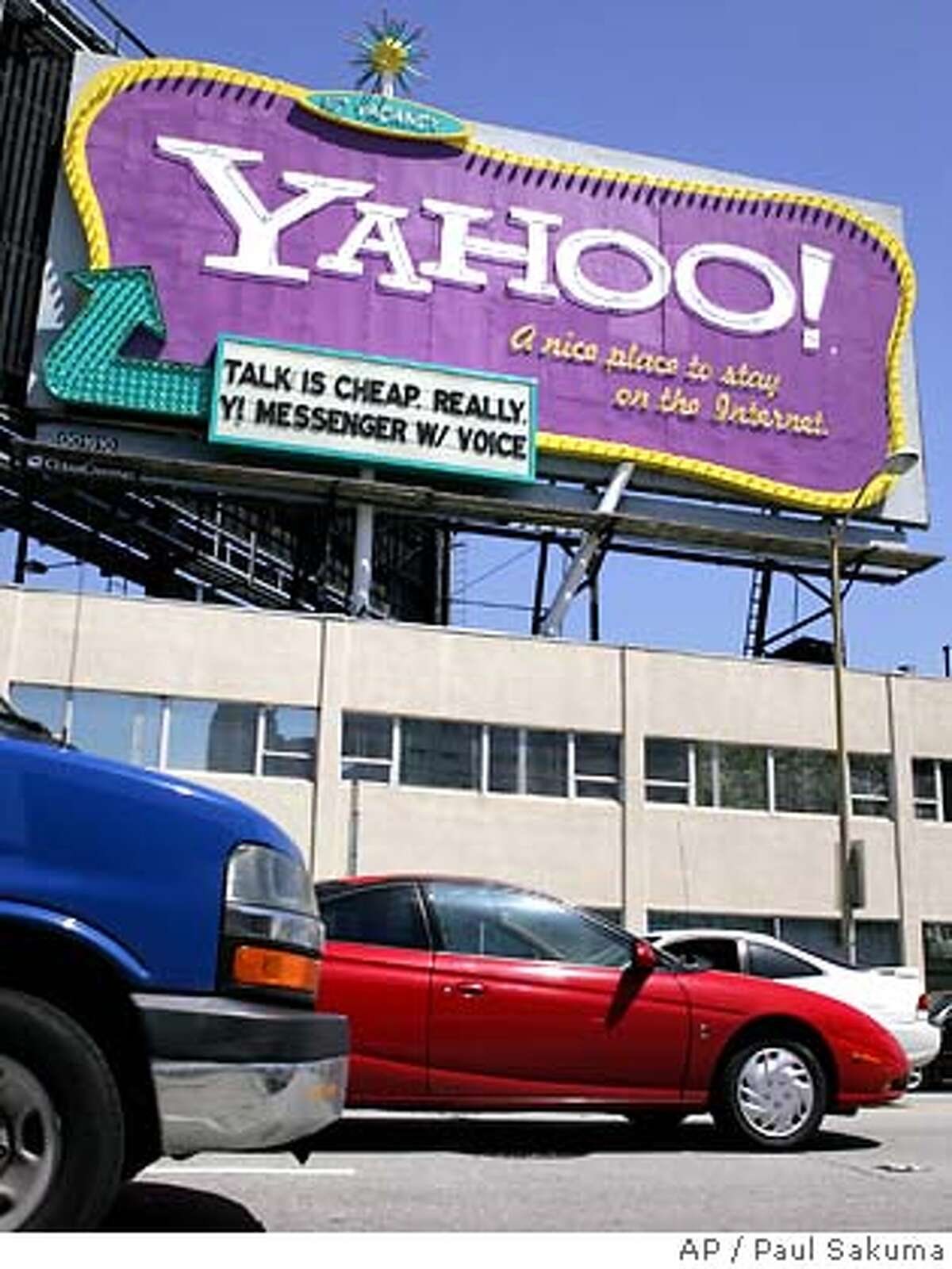 Yahoo! billboard in downtown San Francisco, Tuesday, April 18, 2006. Internet portal Yahoo Inc. releases first-quarter earnings after the close of trading on Wall Street. (AP Photo/Paul Sakuma)