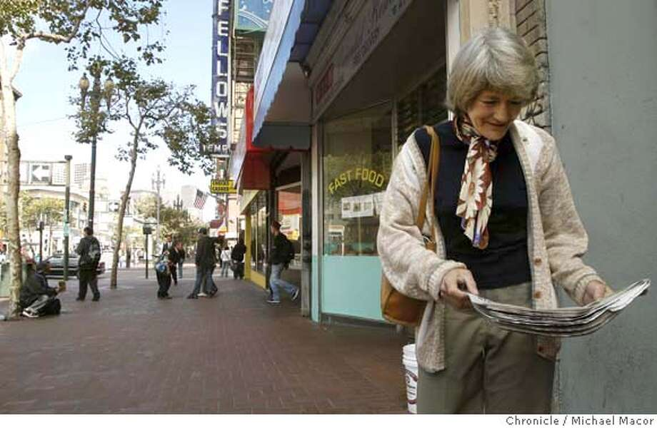 cameras05_048_mac.jpg Joan Gordon near the intersection of Seventh and Market St. a location being considered for the placing of surveillance cameras. Mayor Newsom next month plans to seek 25 additional anti-crime cameras and has released a list of future sites. Some are heavily trafficked areas along Market Street and others are in areas that have experienced homicides and gang violence, such as on 24th in the Mission and along Sunnydale in Visitacion Valley. Newsom's 2-year-old camera program, which now has 70 cameras, has come under recent scrutiny because police have made just one arrest in which camera footage was used.Photographed in, San Francisco, Ca, on 10/4/07. Photo by: Michael Macor/ The Chronicle Mandatory credit for Photographer and San Francisco Chronicle No sales/ Magazines Out Photo: Michael Macor