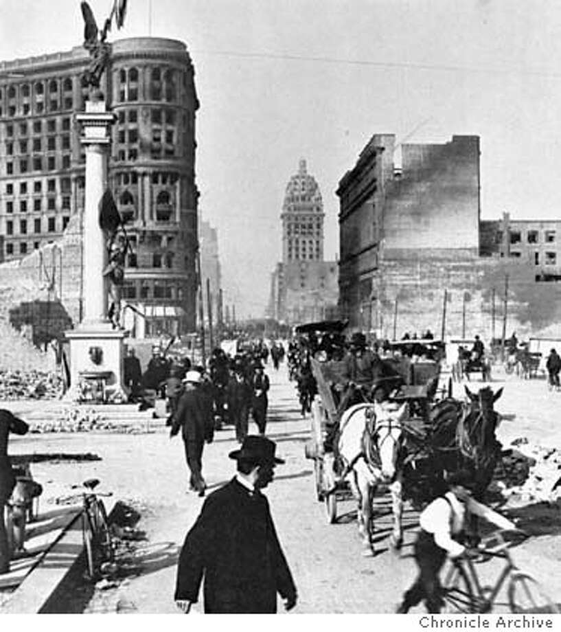 Garbage collector on Market street following the 1906 San Francisco earthquake and fire. Photo: ?