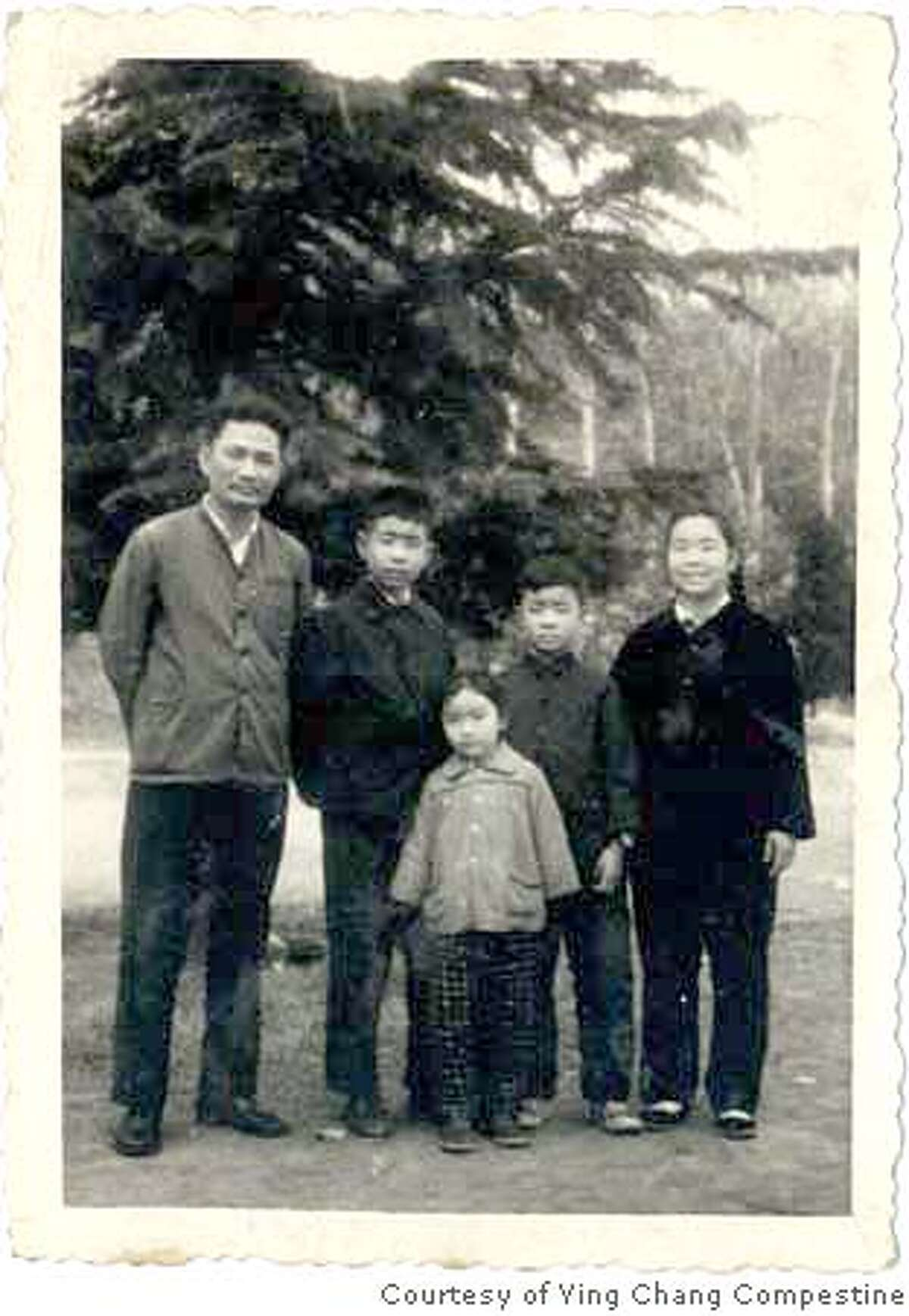 Caption for family-b shot : The Changs in Wuhan, before the Cultural Revolution (left to right): brother Tao; father, Xin Liu; Ying; Mother , Xi Guang Xiong; and brother Bo Ying Chang Compestine 863 Birdhaven Ct Lafayette CA 94549 Ran on: 10-04-2007 As a child, Ying Chang Compestine saw the Golden Gate Bridge as a symbol of freedom. It also inspired the author, shown below (center) with her family, who lived through the Cultural Revolution.