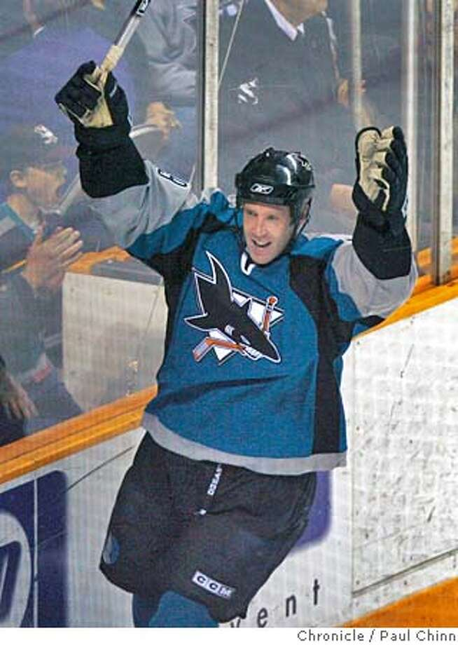 Joe Thornton celebrates his goal which put the Sharks up to a quick 1-0 lead in the first period of the San Jose Sharks vs. the Mighty Ducks of Anaheim at HP Pavilion in San Jose, CA on 4/15/06. The Sharks beat the Ducks 6-3.  PAUL CHINN/The Chronicle Photo: PAUL CHINN