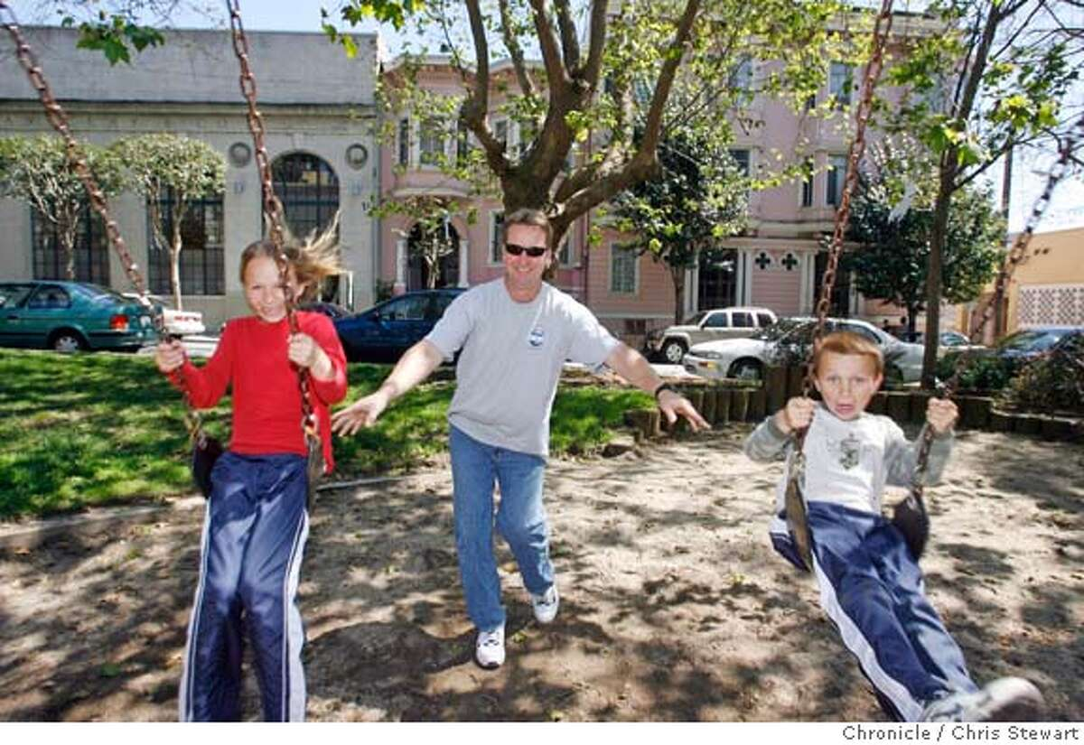 southparkxx_020_cs.jpg Event on 4/13/06 in San Francisco. Haley Lind, 9, (left) and brother Jack, 7, get a push from father Bob during a visit to South Park while visiting from Los Angeles. South Park, the 300 block of Brannan Street between Second and Third streets, was once heralded as the �town square of Multimedia Gulch.� Nearly abandoned when dotcom businesses went bust, South Park is making a comeback. Chris Stewart / The Chronicle MANDATORY CREDIT FOR PHOTOG AND SF CHRONICLE/ -MAGS OUT