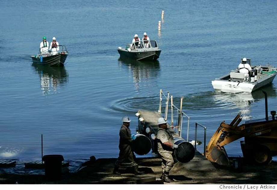 A few of the 25 boats line up at the stagging cove to refill with tanks of the 16,000 gallons of poison to put into Lake Davis, Tuesday Sept. 25, 2007, in Portola, Ca. California Fish and Game start a two day process of depositing 16,000 gallons of poison in Lake Davis, in Portola, Ca. Sept. 25, 2007. The reasoning is to kill off the hundreds of thousand northern pike which has become the killer of all other kinds of fish. (Lacy Atkins /San Francisco Chronicle) MANDATORY CREDITFOR PHOTGRAPHER AND SAN FRANCISCO CHRONICLE/NO SALES-MAGS OUT Photo: Lacy Atkins