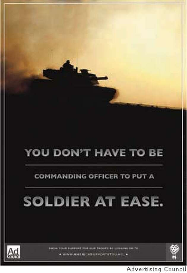 """Book cover art for, """"Soldier At Ease.""""Ran on: 04-08-2006  One of the ads in the &quo;America Supports You&quo; campaign. Photo: Xx"""