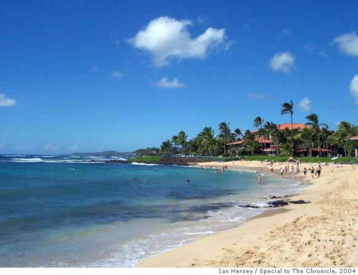 The Marriott Waiohai Beach Club is seen at one end of on Kauai's Poipu Beach. The timeshare resort opened in 2003.