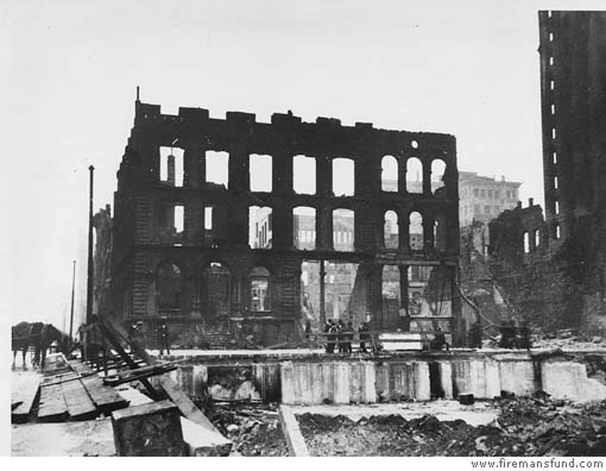 This is a photo of the Fireman's Fund Insurance Company building at 401 California St., destroyed by fire after the 1906 earthquake. Source: www.firemansfund.com