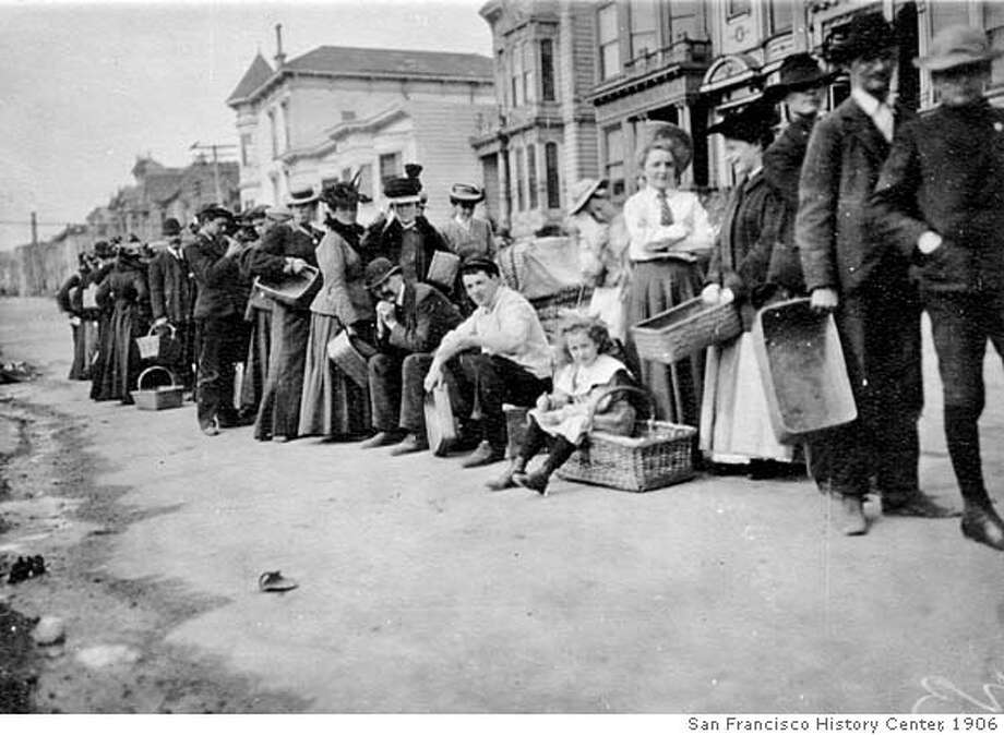 QUAKE_refugees_22.jpg Refugees of the 1906 earthquake in a food line for rations. courtesy of San Francisco History Center, San Francisco Public Library Ran on: 04-14-2006  Earthquake evacuees line up for rations after being forced to leave their homes. The fire burned through Nob Hill, Chinatown, North Beach and the Mission District. Photo: San Francisco History Center, Sa