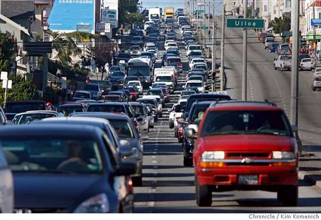 Traffic on southbound 19th Avebnue is snarled two hours after two autos collide at Sloat and 19th Avenue just after 2pm Tuesday. Photo by Kim Komenich/The Chronicle  ** Photo: Kim Komenich