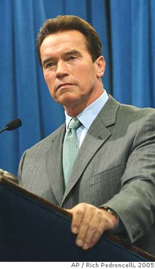 "Gov. Arnold Schwarzenegger listens to a reporters question during a Capitol news conference held in Sacramento, Calif. Thursday, Jan. 27, 2005. Schwarzenegger said he wanted to set the record straight, that he had introduced reform legislation and ""if anyone there says that we didn't, they are wrong."" Schwarzenegger was referring to remarks made by Democrats Wednesday in which they claim the Repubican Governor had submitted incomplete legislation that delayed action.(AP Photo/Rich Pedroncelli) Ran on: 01-28-2005  Speaker Fabian Nu�ez Ran on: 10-15-2005  President Bush, left, will be in L.A. while Gov. Schwarzeneg- ger plans to campaign, possibly in the Central Valley. Ran on: 10-15-2005  President Bush, left, will be in L.A. while Gov. Schwarzeneg- ger plans to campaign, possibly in the Central Valley. Photo: RICH PEDRONCELLI"