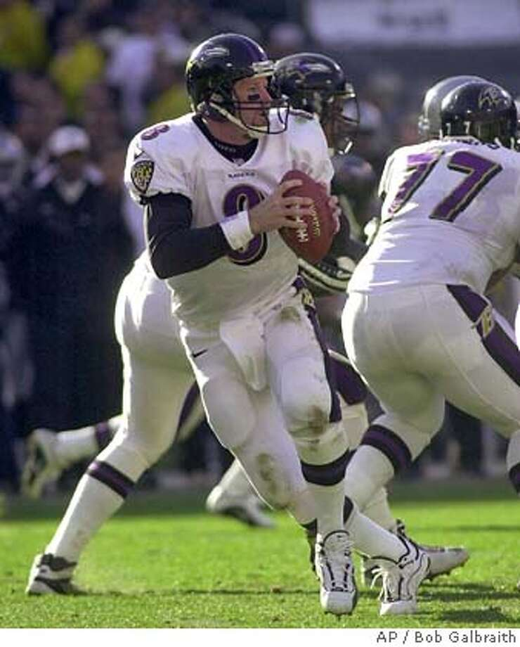 Baltimore Ravens quarterback Trent Dilfer looks for a receiver against the Oakland Raiders during the AFC Championship Sunday January 14, 2001 in Oakland, Calif.. The Ravens will meet the New York Giants in Super Bowl XXXV Sunday Jan. 28 in Tampa, Fla.(AP Photo/Bob Galbraith) DIGITAL IMAGE Photo: BOB GALBRAITH