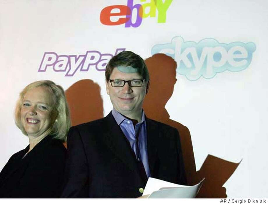 In this photo released by eBay, President and Chief Executive Officer of eBay, Meg Whitman, left, stands with Niklas Zennstrom, CEO and Co founder of Skype, the global Internet communications company, in central London, Monday Sept, 12, 2005. EBay Inc. said Monday it will acquire Internet communications company Skype Technologies SA for about US$2.6 billion in up-front cash and eBay stock. (AP Photos / Sergio Dionisio, eBay) Ran on: 09-13-2005  Meg Whitman, eBay CEO, and Niklas Zennstrom, Skype CEO, announce eBay's purchase of Skype on Monday. PHOTO RELEASED BY EBAY Photo: EBay