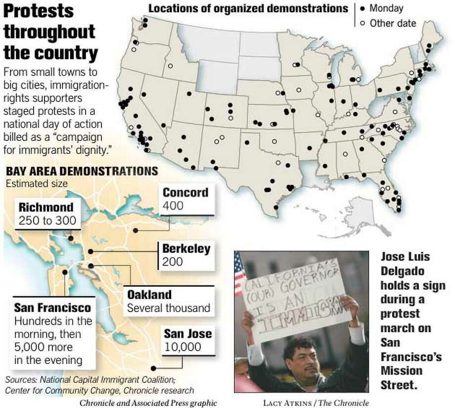 Protests Throughout the Country. Chronicle and Associated Press Graphic