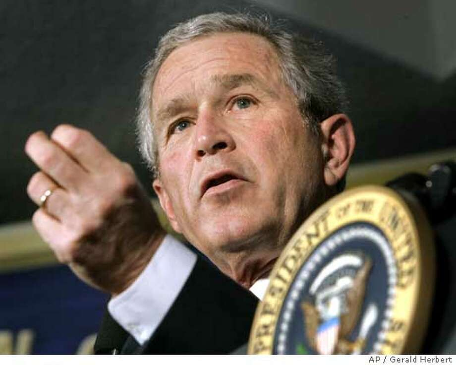 President Bush participates in a question and answer session after delivering remarks on the global war on terror at the John Hopkins University's Paul H. Nitze School of Advanced International Studies in Washington Monday, April 10, 2006. (AP Photo/Gerald Herbert) Photo: GERALD HERBERT