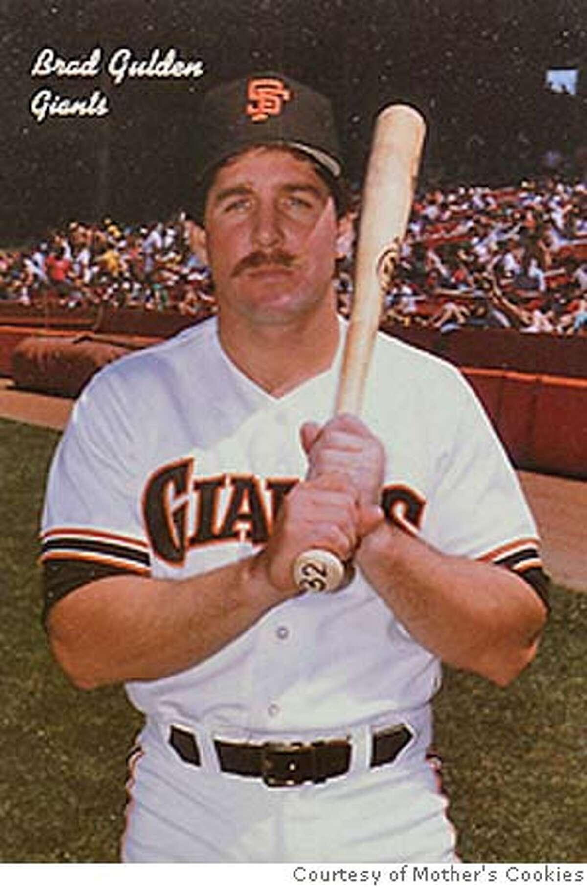 Brad Gulden, Giants, on 1986 Mother's Cookies baseball card. Credit: Mother's Cookies