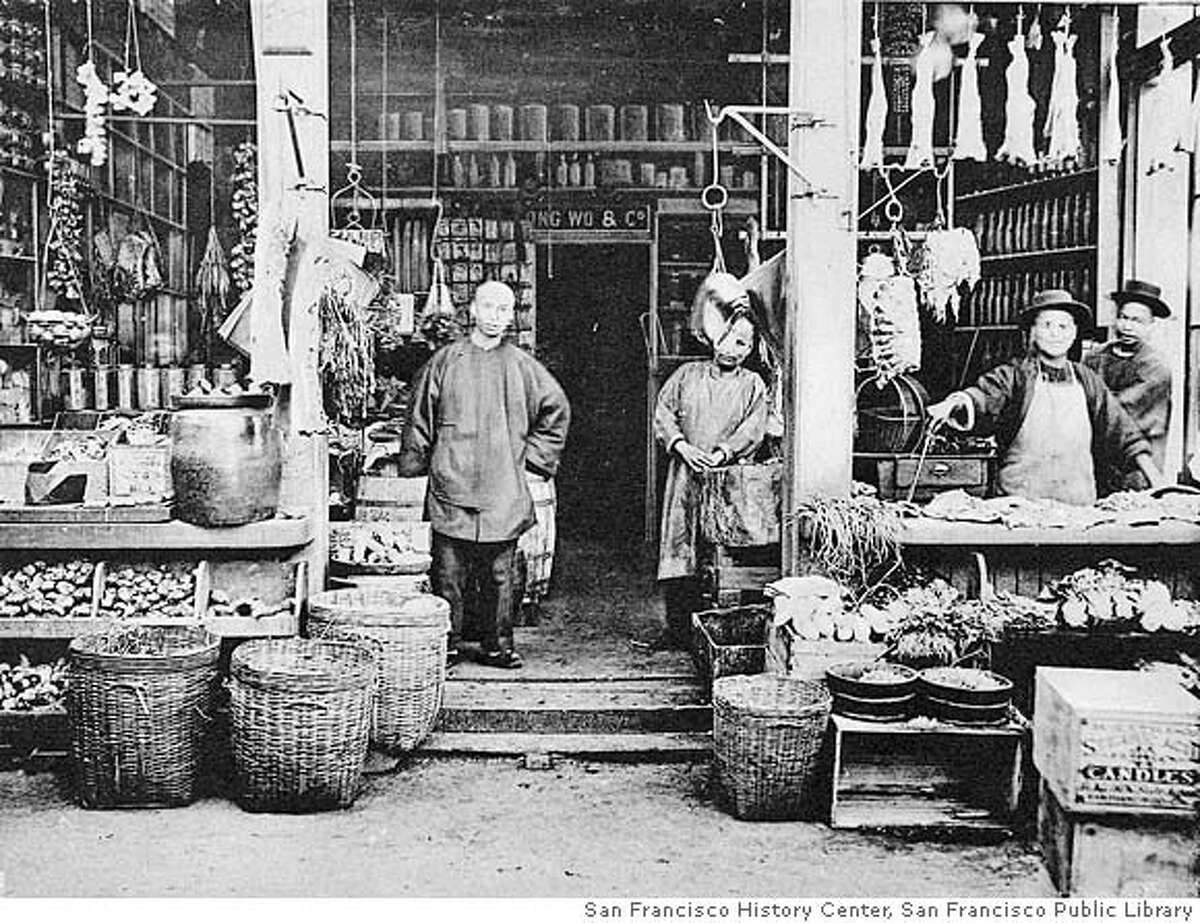 QUAKE_prequake_03.jpg.jpg A 1904 photograph of a chinese grocery store in San Francisco's Chinatown prior to the 190-6 earthquake. San Francisco was a hustling/bustling city just prior to the 1906 Earthquake as shown in these prequake photos. courtesy of San Francisco History Center, San Francisco Public Library