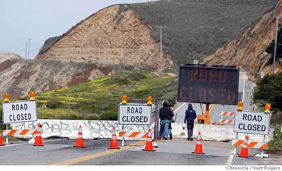 The end of Highway 1 where cal trans has closed the road .  Highway 1 Devil�s Slide, the section of Highway 1 that has bedeviled drivers for decades, may not open for months due to heavy rains that have sent boulders crashing down on the roadway. The route, linking the San Mateo County coast with San Francisco and beyond, is a key commute link as well as a road for weekend get-aways to the coast for city dwellers. It�s bad news for commuters and businesses and a repeat of 1995 when the highway was also closed for months. Caltrans is now building an inland bypass but that won�t open for years.  Kurt Rogers HALF MOON BAY SFC  The Chronicle SLIDE_00003_kr.JPG MANDATORY CREDIT FOR PHOTOG AND SF CHRONICLE/ -MAGS OUT Photo: Kurt Rogers