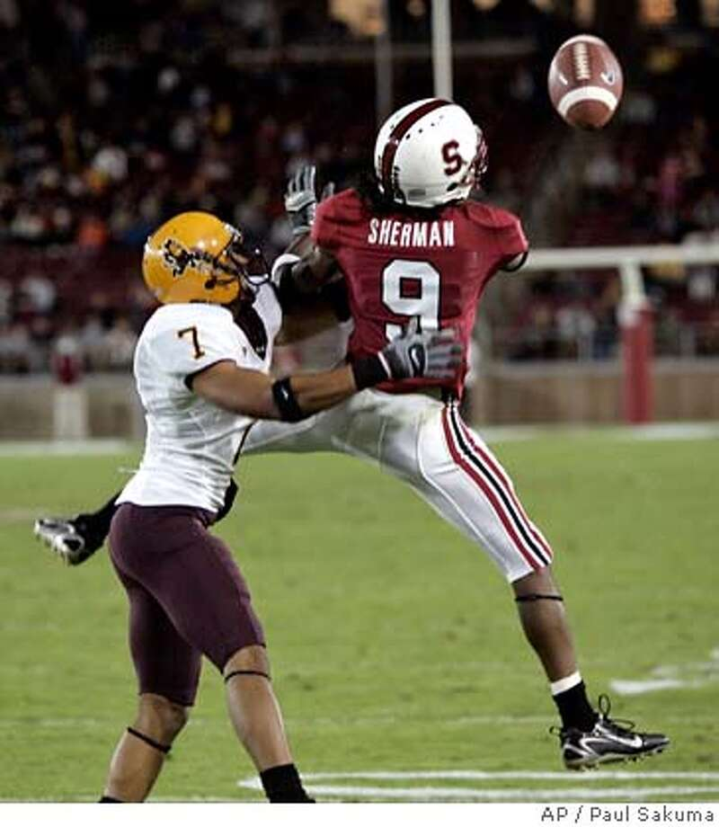Stanford wide receiver Richard Sherman (9) misses a catch near the endzone in front of Arizona State safety Jeremy Payton in the second quarter of their NCAA football game, Saturday, Sept. 29, 2007, in Stanford, Calif. (AP Photo/Paul Sakuma) Photo: Paul Sakuma