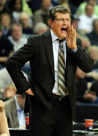 Connecticut head coach Geno Auriemma reacts during the first-round NCAA tournament against Prairie View at the Webster Bank Arena in Bridgeport, Conn. Saturday, Mar. 17, 2012. Photo: Autumn Driscoll / Connecticut Post