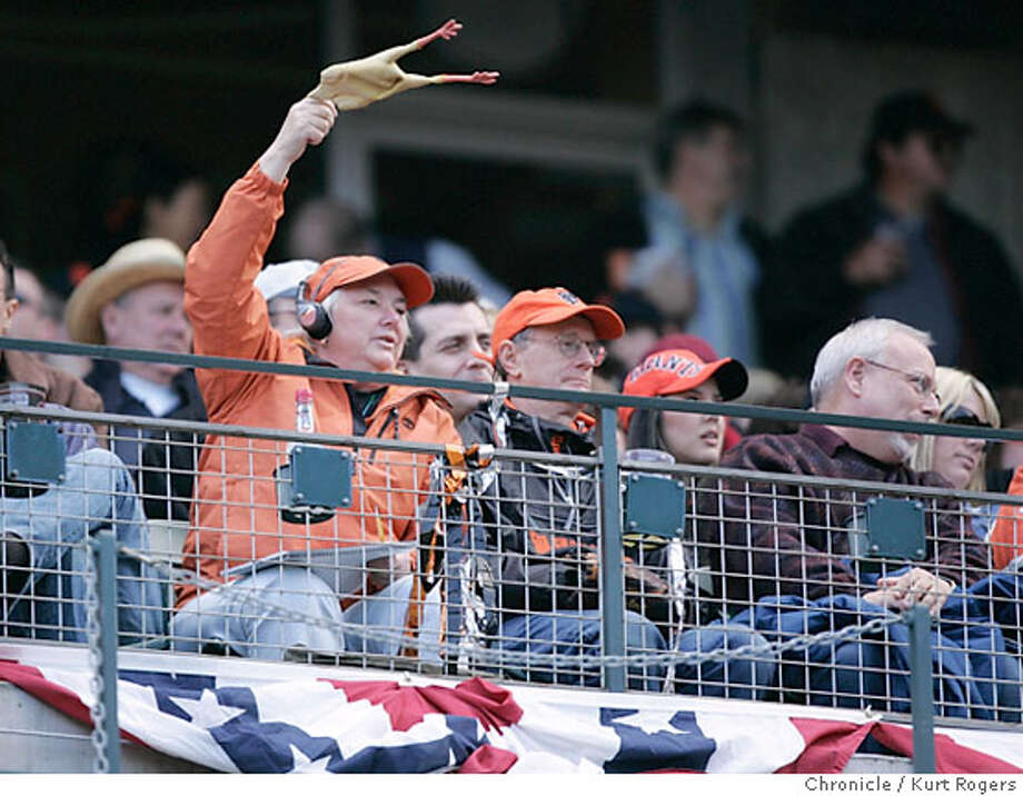 A fan starts to wave a rubber chicken after Barry Bonds was walked during his first home appearance of the 2006 season. The San Francisco Giants opened their 2006 home schedule against the Atlanta Braves at AT&T Park. Starting pitchers are Noah Lowry for the Giants and Jorge Sosa for the Braves on April 6, 2006 in San Francisco. Photo: Kurt Rogers