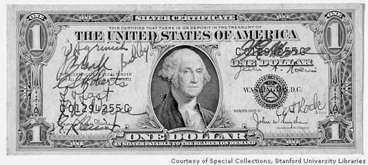 a dollar signed by the founders of fairchild represents a symbolic contract between them. is the slug. Credit: Courtesy of Special Collections, > Stanford University Libraries. > > Story is about the history of Silicon Valley, in particular the founding > of Fairchild Semiconductors.