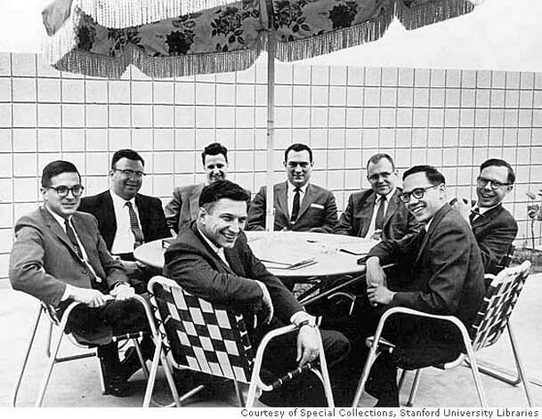 The eight founders of Fairchild Semiconductor pose shortly after starting their company in the fall of 1957. Noyce is front and center, his arm slung over the back of the chair. Seated clockwise from Noyce are Jean Hoerni, Julius Blank, Victor Grinich, Eugene Kleiner, Gordon Moore, C. Sheldon Roberts and Jay Last.Story is about the history of Silicon Valley, in particular the founding of Fairchild Semiconductors.