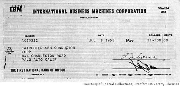 This check is an early installment on Fairchild Semiconductor's first sale: 100 transistors, sold to IBM for $150 apiece. Equivalent transistors today cost less than a hundred-thousandth of a penny. Special Collections, Stanford University Libraries / Courtesy to The Chronicle Photo: Special Collections, Stanford Un
