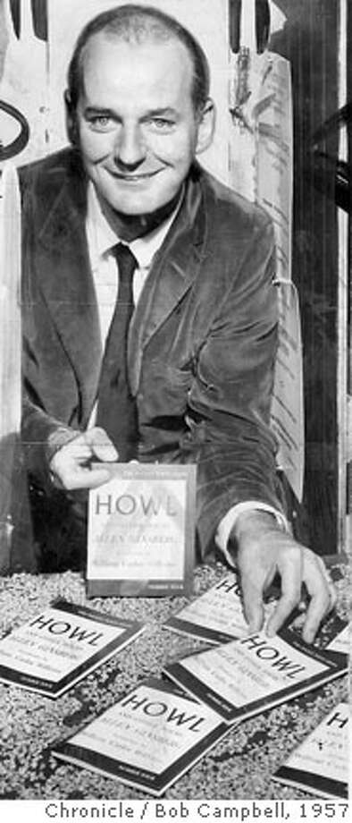 "CENTURY16F/B/10MAY99/SC/HO--Lawrence Feringhetti after winning his historic landmark censorship case shows off the book that got him into trouble in the first place, Allen Ginsberg's ""Howl"" in 1957. CHRONICLE PHOTO BY BOB CAMPBELL. Ran on: 10-04-2005  Allen Ginsberg made a big hit with his lacerating poem &quo;Howl.&quo; Photo: CHRONICLE PHOTO BY BOB CAMPBELL."