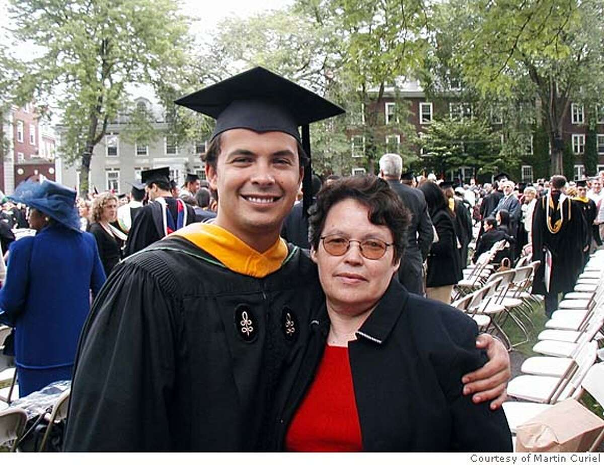 Jefferson Award winner Martin Curiel with his mother, Maria Curiel, at his Harvard Graduation in 2004. Photo courtesy of Martin Curiel.