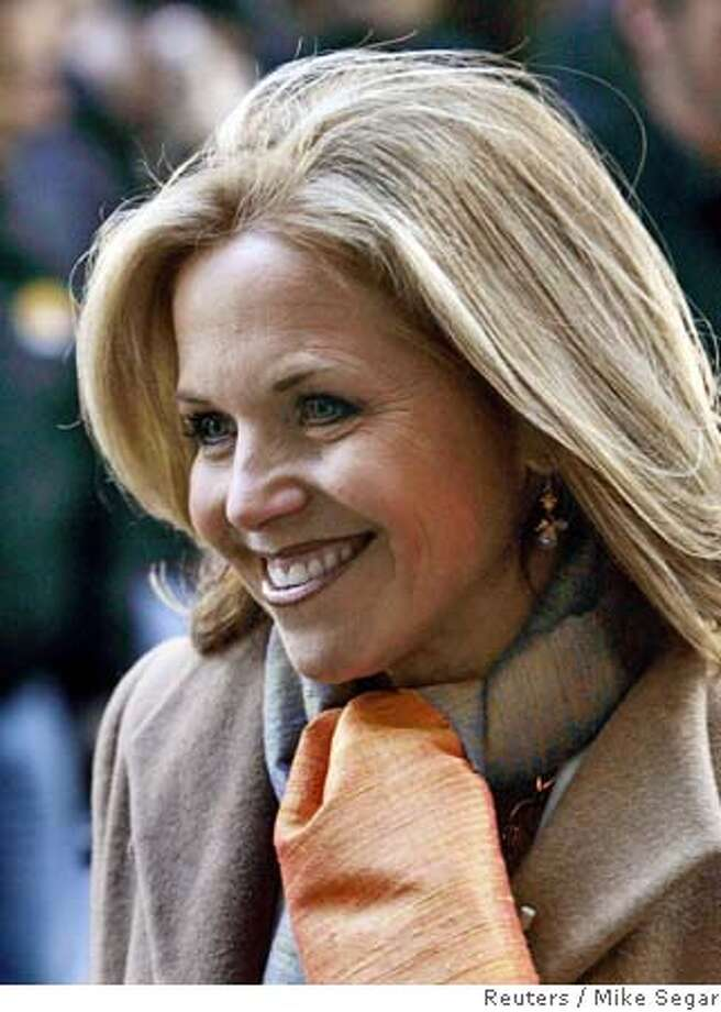 Katie Couric, co-host of the NBC Today show is seen during a break in the broadcast of the program outside NBC's New York City studios, April 5, 2006. Couric, earlier in the show, told her audience that she will be leaving NBC to join the CBS Evening News where she will become the first woman to solo anchor a network evening newscast. The 49-year-old Couric has been on Today for the past 15 years. REUTERS/Mike SegarRan on: 04-06-2006  Katie Couric confirmed she is leaving NBC's &quo;Today&quo; show to join &quo;CBS Evening News&quo; as the first woman to solo-anchor a network evening newscast.Ran on: 04-06-2006  Katie Couric confirmed she is leaving NBC's &quo;Today&quo; show to join &quo;CBS Evening News&quo; as the first woman to solo-anchor a network evening newscast. Photo: MIKE SEGAR