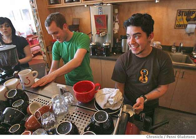 Ryan Brown at left and Gaberial Boscana.  Two SF baristas (espresso coffee makers) have been named finalists in a national contest for the best barista and are flying off to North Carolina for the championships. Today they are working at their usual post behind the counter at Ritual Coffee Penni Gladstone/The San Francisco Chronicle  Photo taken on 4/6/06, in San Francisco, CA. Photo: Penni Gladstone