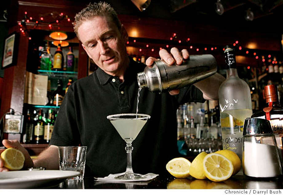spirits23_0007_db.JPG  Bartender at The Bitter End on Clement, Paschal Smith, makes a Lemon Drop, a drink he dislikes making because the lemon and sugar make his hands sticky.  Event on 3/14/06 in San Francisco.  Darryl Bush / The Chronicle MANDATORY CREDIT FOR PHOTOG AND SF CHRONICLE/ -MAGS OUT Photo: Darryl Bush