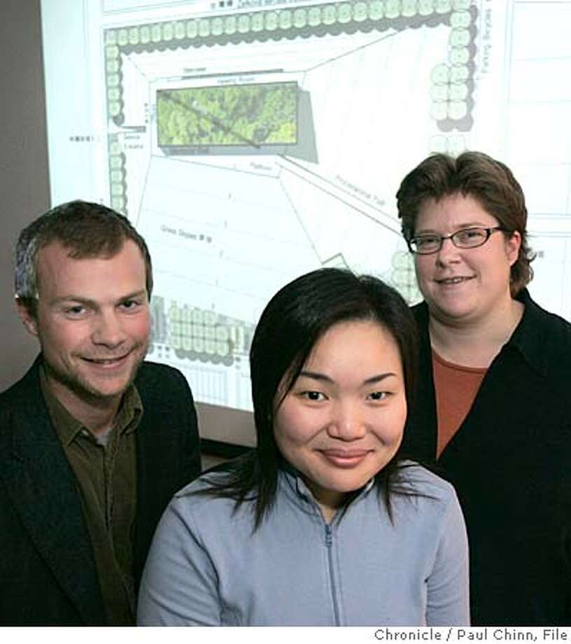 "Prof. Judith Stilgenbauer (right), Calder Gillin (left) and Kit Shih-ting Wang (center), an environmental design team UC Berkeley, with their winning entry in an international competition on 3/26/06 in Berkeley, CA. Professor Stilgenbauer worked with the two graduate students to obtain first prize in the ""228 National Memorial Park"" competition sponsored by the Taiwanese government and will help guide construction of the park in Chiayi, Taiwan.  PAUL CHINN/The Chronicle MANDATORY CREDIT FOR PHOTOG AND S.F. CHRONICLE/ - MAGS OUT Photo: PAUL CHINN"