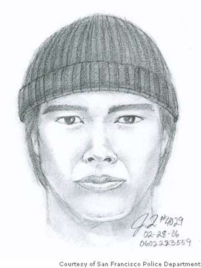 The suspect is described as an Asian man in his late 20s to 30s, about 5 feet 4 inches tall, weighing 125 pounds. Artist sketch courtesy of the San Francisco Police Department