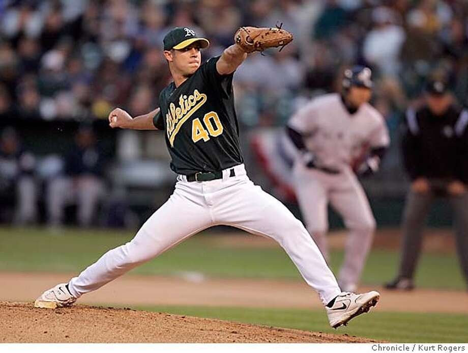 Rich Harden starting pitcher.  New York Yankees vs. Oakland Athletics at McAfee Coliseum in Oakland.  Kurt Rogers Oakland SFC  The Chronicle Photo: Kurt Rogers