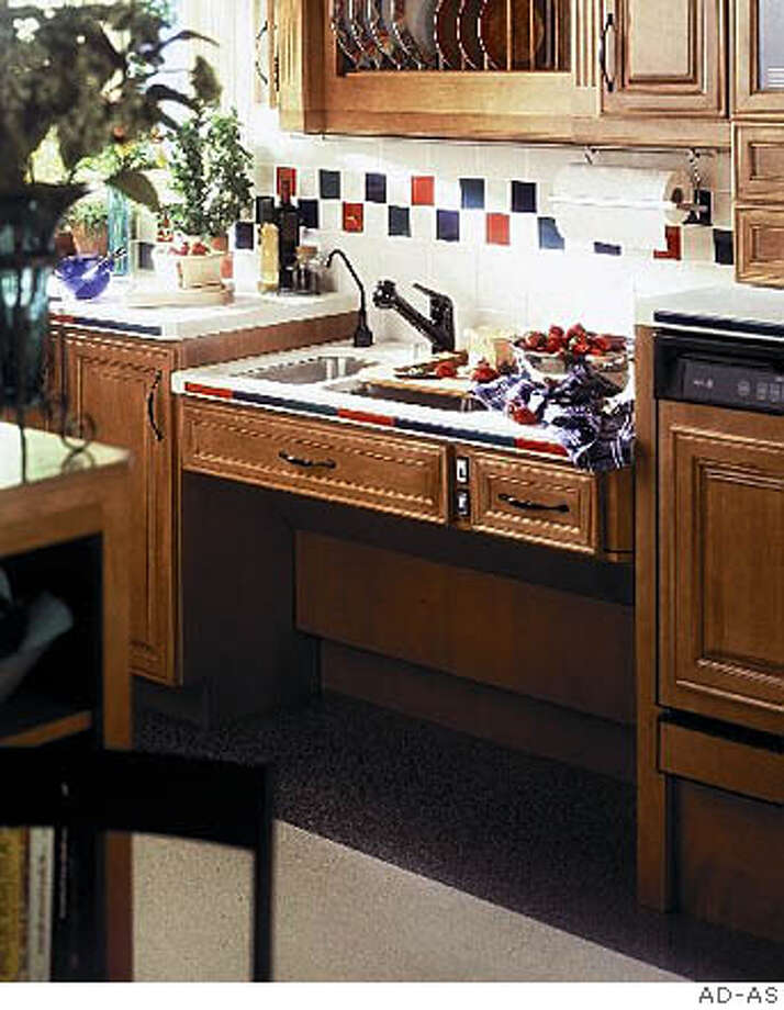 The AD�AS Approach line for the kitchen includes an adjustable-height kitchen sink, with a push button control that smoothly and quietly raises and lowers the sink to each user�s height requirements.