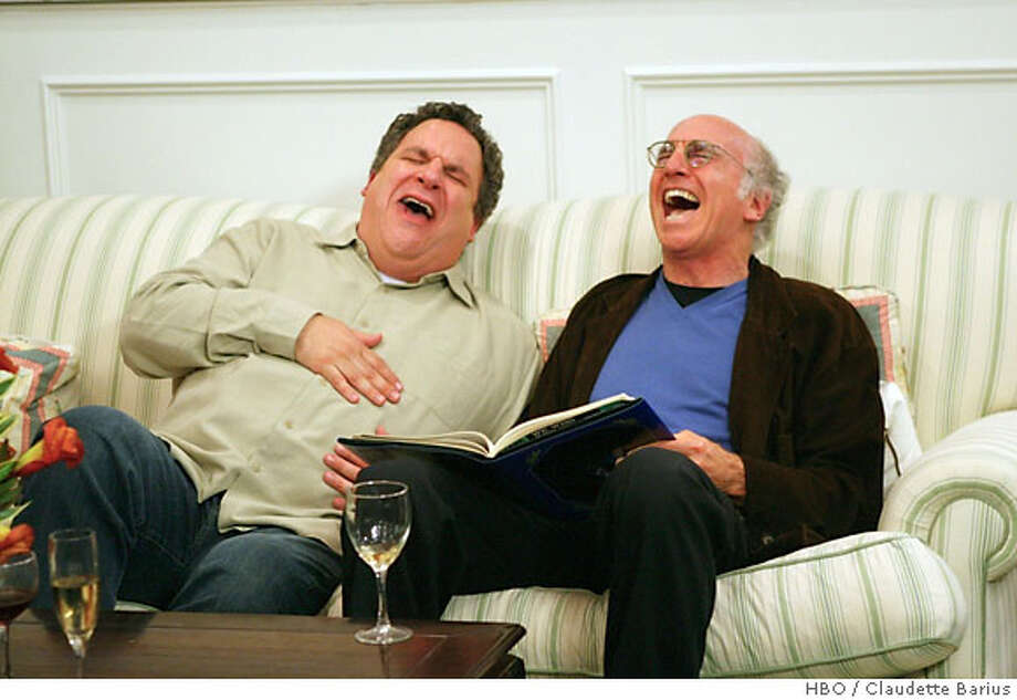 """This undated photo, supplied by HBO, shows Jeff Garlin, left, and Larry David in an episode of """"Curb You Enthusiasm,"""" whose sixth season began Sunday, Sept. 9, 2007 on the HBO premium cable television channel. Calmness in the face of many things -- an improvising Larry David, repeated production halts for his new film """"I Want Someone to Each Cheese With"""" -- has served Garlin well. (AP Photo/HBO,Claudette Barius) NO SALES, UNDATED PHOTO SUPPLIED BY HBO, Photo: HBO / Claudette Barius"""