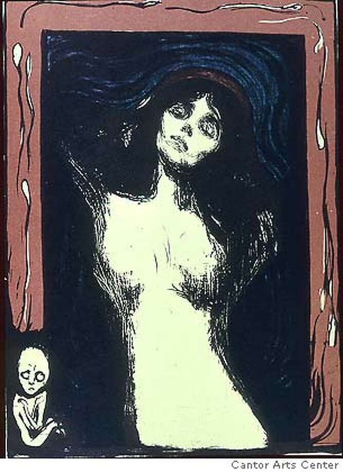 "Edvard Munch (Norway, 1863�1944), ""Madonna,"" 1896/1902. Lithograph. Private collection March 22 � June 25, 2006  ""Desire, Anxiety, and Loss: The Prints of Edvard Munch""  This exhibition features more than 30 prints by Edvard Munch (1863 � 1944). His earliest etchings from the mid-1890s are compared to his more mature woodcuts and lithographs of the following two decades. These works are vivid expressions of the intense transforming emotions and private pain that Munch experienced in his life. Although personal in nature, these powerful images and the feelings they depict � desire, jealousy, anxiety, and loss � are universal. His self-portraits and portraits of writers and musicians, such as Stephane Mallarm�, Henrik Ibsen, and Frederick Delius are also shown. These images provide insight into the friendships that nourished and influenced Munch�s art. Related Programs are FREE, two require reservation tickets  Call 650-725-3155 for program information. Friday, April 7, 7:30 pm  Film: Edvard Munch (1973, 174 minutes)  Feature film directed by Peter Watkins  Annenberg Auditorium, Cummings Art Building, Stanford University Thursday, April 27, 6:30 pm  Reading : Henrik Ibsen�s A Doll�s House  Introduction by Carey Perloff, Artistic Director of the American Conservatory Theater Reading by A.C.T. stars Ren� Augesen (Nora) and Steven Caffrey (Torvald) Cantor Arts Center Auditorium Ticket required, available at Stanford Ticket Office at Tresidder Union (650-725-2787) Saturday, April 29, 9:30 am�12:30 pm  Symposium: Edvard Munch: Personality and Image  Annenberg Auditorium, Cummings Art Building, Stanford University Photo: X"