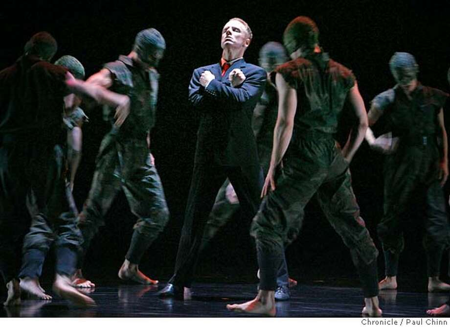 "Michael Trusnovec (center) and the Paul Taylor Dance Company performs ""Banquet of Vultures"" at the Yerba Buena Center for the Arts in San Francisco, Calif. on 3/30/06.  PAUL CHINN/The Chronicle MANDATORY CREDIT FOR PHOTOG AND S.F. CHRONICLE/ - MAGS OUT Photo: PAUL CHINN"
