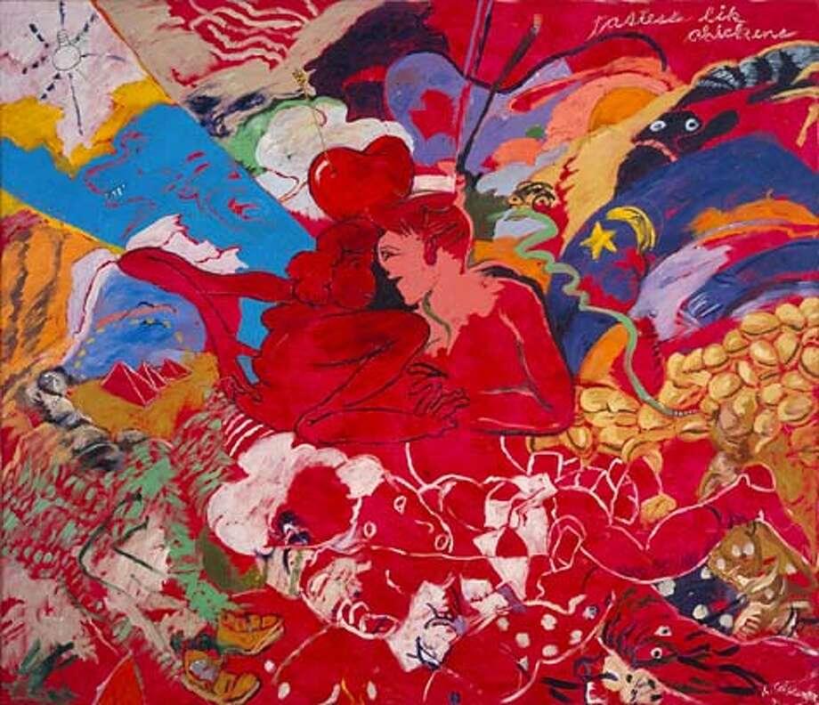 "Caption: ""Tastess Lik Chickens"" (2001) Acrylic on canvas by Robert Colescott Courtesy Phyllis Kind Gallery, New York Photo: -"