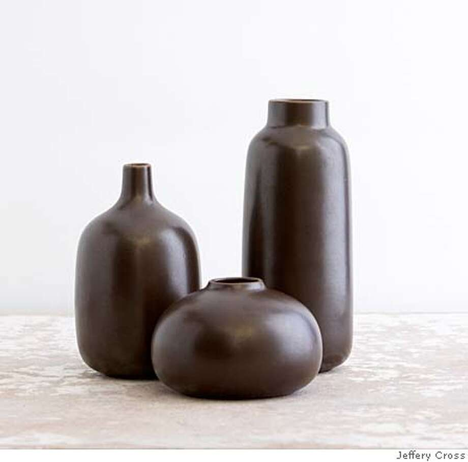 Vase Collection Chocolate  Heath Ceramic Winter 2007  Photo credit: Jeffery Cross Photo: Jeffery Cross