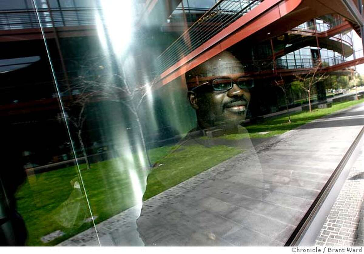 brainchip077_ward.jpg Kwabena Boahen looks out from his lab area in the James H. Clark Center on the Stanford campus...his lab has not yet been constructed. Kwabena Boahen is an African scientist now working at Stanford University. He is trying to make computer chips as energy efficient as the human brain. Brant Ward3/29/06