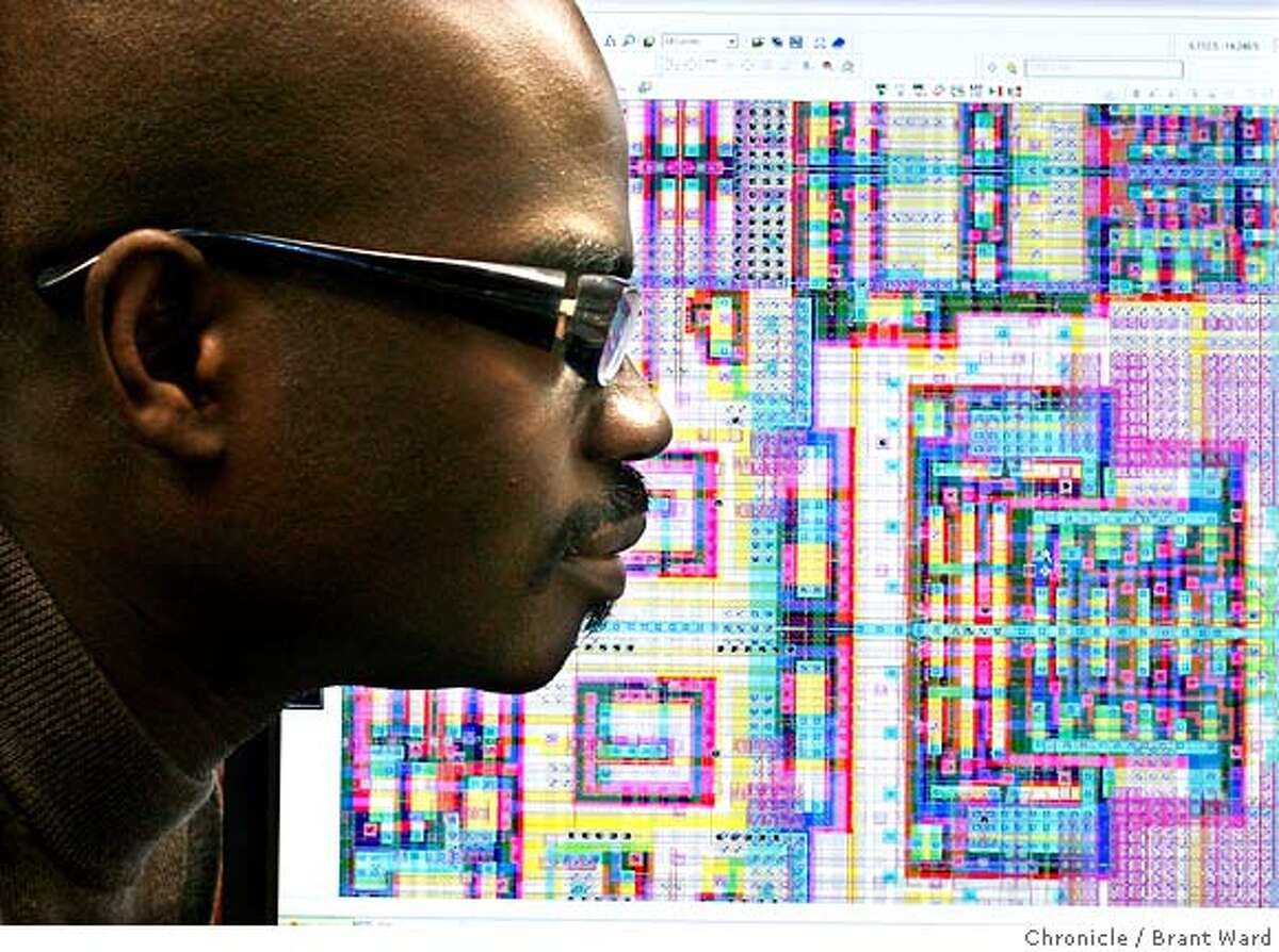 brainchip079_ward.jpg Kwabena Boahen in front of a computer silicon model of the Hippocampus chip (a portion of the chip responsible for memory). Kwabena Boahen is an African scientist now working at Stanford University. He is trying to make computer chips as energy efficient as the human brain. Brant Ward3/29/06