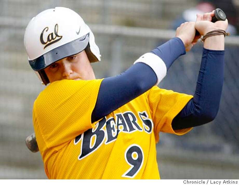 Haley Woods, a catcher for UC Berkeley at batt during the game against UC Davis, March 27, 2006, Berkeley. : Atkins, Lacy Photo: Lacy Atkins