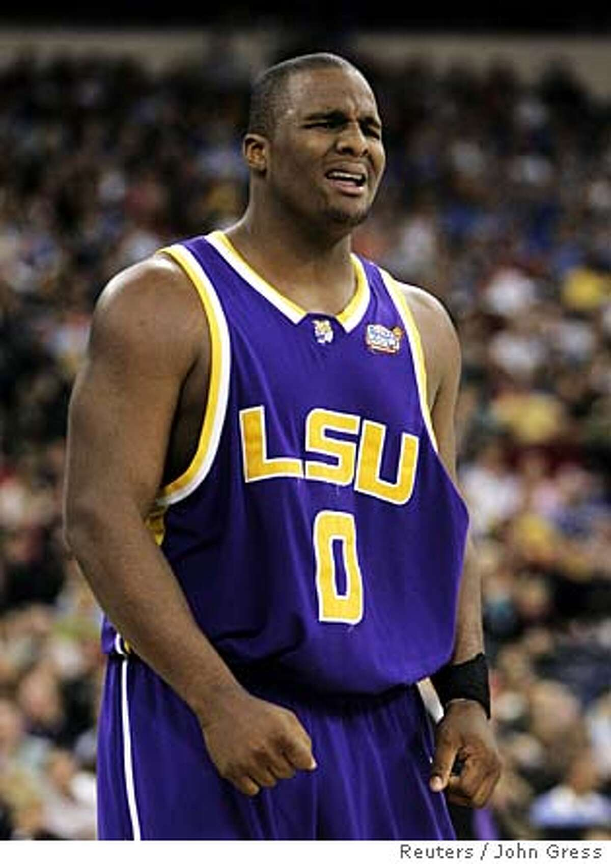 LSU Tigers Davis reacts after hitting shot against UCLA Bruins during game at men's NCAA Final Four in Indianapolis